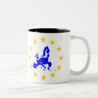 Map of the European union with star circle Two-Tone Coffee Mug