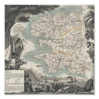 Map of the French Department of Finistere Poster