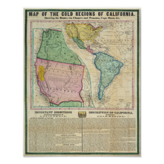 Map of the Gold Regions of California Poster