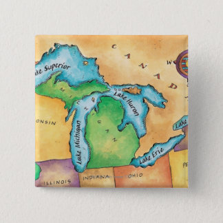 Map of the Great Lakes 15 Cm Square Badge