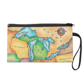 Map of the Great Lakes Wristlets
