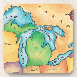Map of the Great Lakes Beverage Coasters
