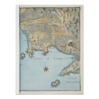 Map of the Gulf of Naples and Surrounding Area Poster