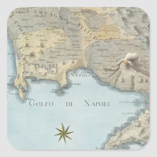 Map of the Gulf of Naples and Surrounding Area Square Sticker
