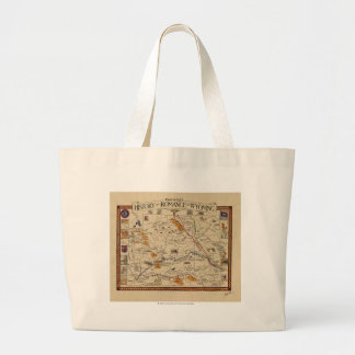 Map of the History and Romance of Wyoming Large Tote Bag
