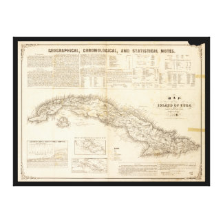 Map of the Island of Cuba (1855) Stretched Canvas Print