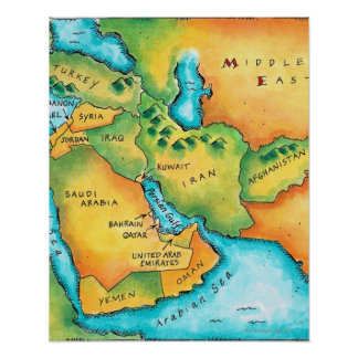 Map of the Middle East Poster