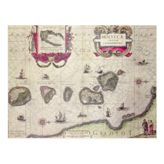 Map of The Moluccan Island, engraved Postcard