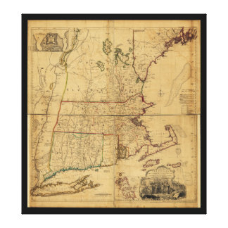 Map of the Most Inhabited Part of New England 1755 Stretched Canvas Print