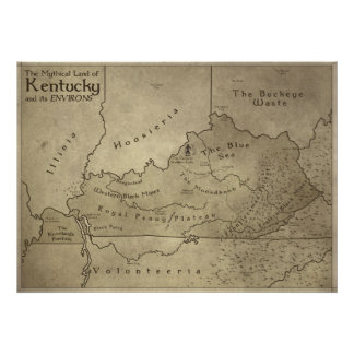 Map of the Mythical Land of Kentucky Poster
