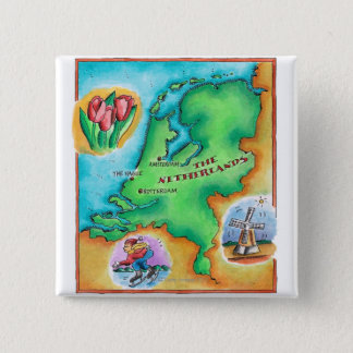 Map of the Netherlands 15 Cm Square Badge