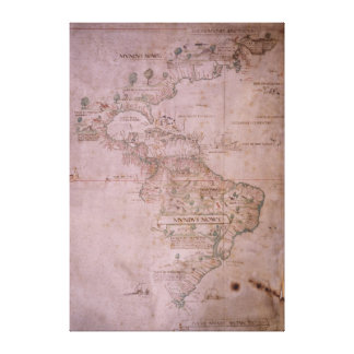 Map of the New World, c.1532 Canvas Prints