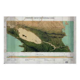 Map of the Nicaragua Canal (1870) Poster