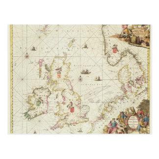 Map of the North Sea, c.1675 Postcard