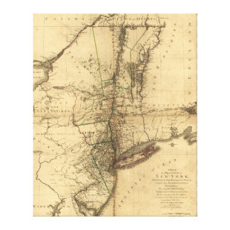 Map of the Province of New York by W. Faden (1776) Canvas Print