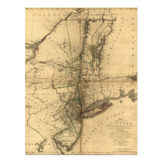 Map of the Province of New York by W. Faden (1776) Postcard