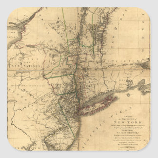 Map of the Province of New York by W. Faden (1776) Square Sticker