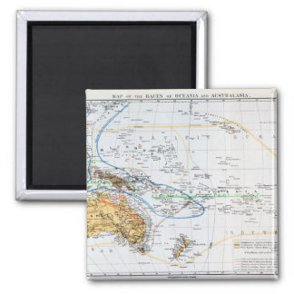 Map of the races of Oceania and Australasia Fridge Magnet