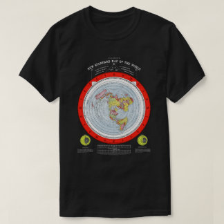 Map of the Square and Stationary Flat Earth Plane T-Shirt
