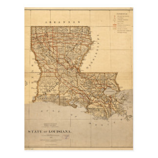 Map of the State of Louisiana (1876) Postcard