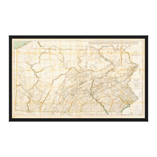 Map of the State of Pennsylvania (1896) Canvas Print