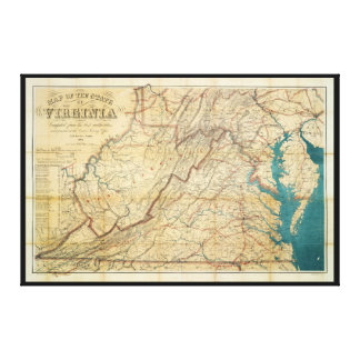 Map of the State of Virginia (1862) Gallery Wrapped Canvas