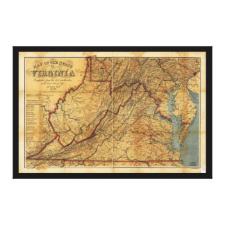 Map of the State of Virginia (1863) Canvas Print