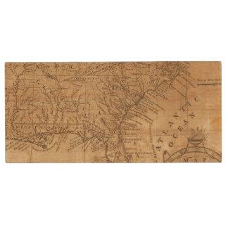 Map of the States of Virginia and North Carolina Wood USB 2.0 Flash Drive