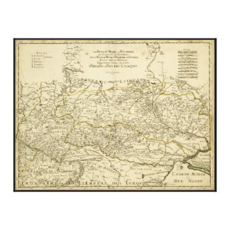 Map of the Ukraine by Guillaume Sanson (1674) Stretched Canvas Print