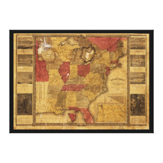 Map of The United States (1837) Canvas Prints