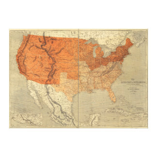 Map of the United States (1861) Gallery Wrap Canvas