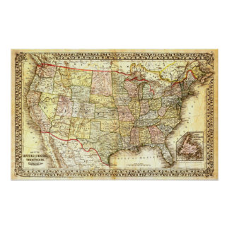 Map of the United States (19th century) Poster