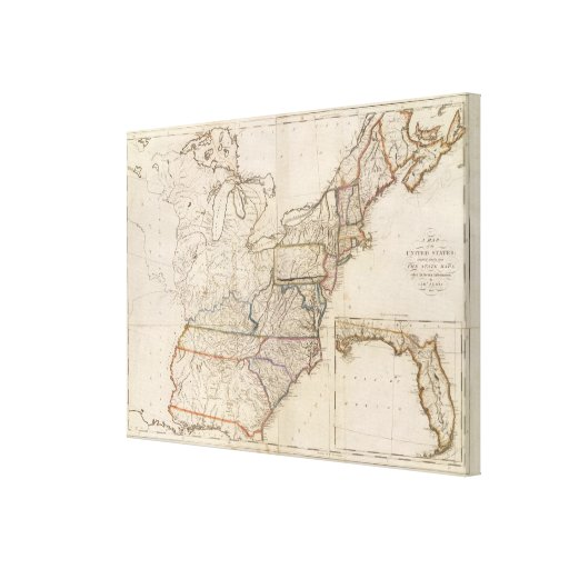Map of the United States 3 Stretched Canvas Prints