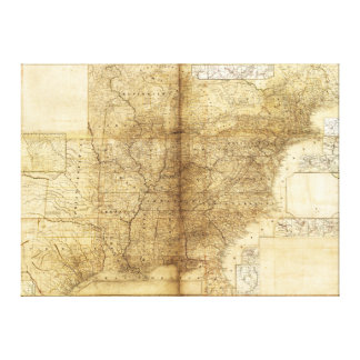 Map of the United States and Canada (1847) Gallery Wrapped Canvas