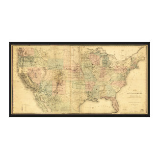 Map of the United States and Territories (1868) Canvas Print