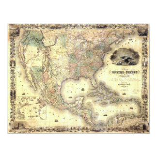 Map of the United States by J.H. Colton (1849) Card
