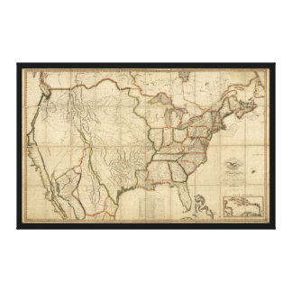 Map of the United States of America (1816) Gallery Wrapped Canvas