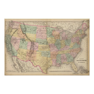 Map of the United States of America 3 Poster