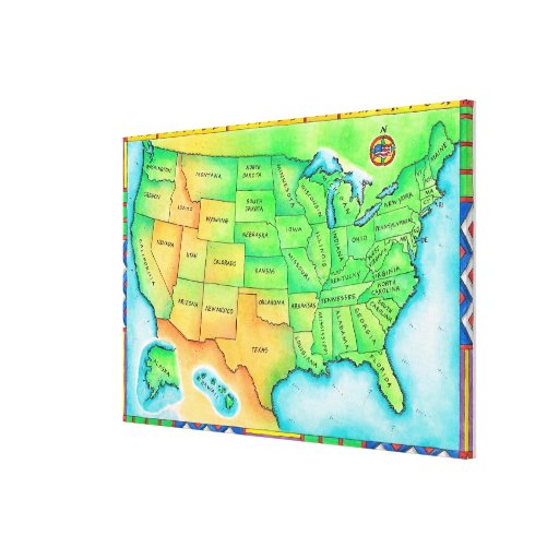 Map of the USA Gallery Wrapped Canvas