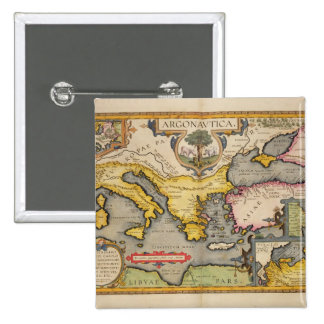 Map of the Voyage of the Argonauts 15 Cm Square Badge