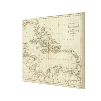 Map of the West Indies 2 Canvas Print