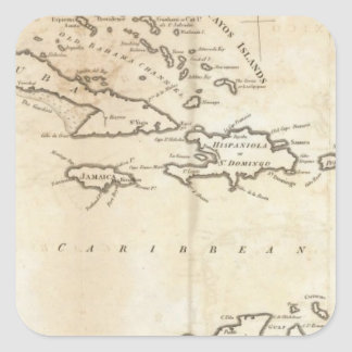 Map of the West Indies 2 Square Stickers