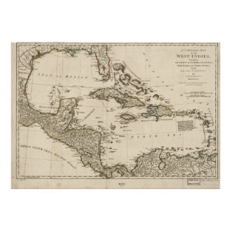 Map of the West Indies by Samuel Dunn (1774) Poster