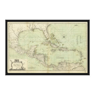 Map of the West Indies by William Guthrie (1777) Stretched Canvas Print