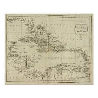 Map of the West Indies Poster