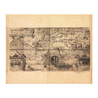 Map of the World (1581) Gallery Wrapped Canvas