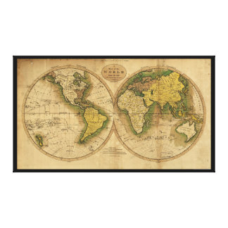Map of the World by Mathew Carey (1795) Canvas Print