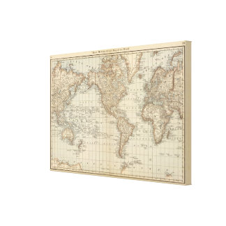 Map of the World Stretched Canvas Prints