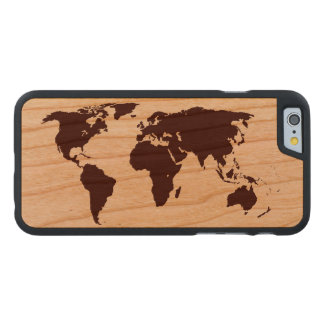 Map of the World Carved Cherry iPhone 6 Case