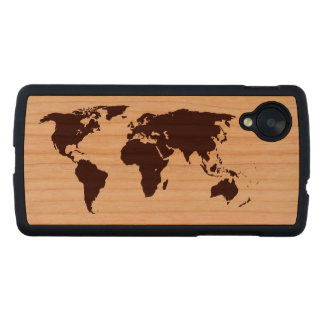 Map of the world carved® cherry nexus 5 case